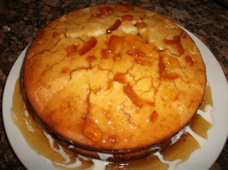 Lemon Ginger Corn Cake with Orange Marmalade Glaze