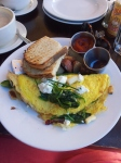 Paris Omlette: white asparagus, spinach, sundried tomatoes, brie cheese, goat cheese