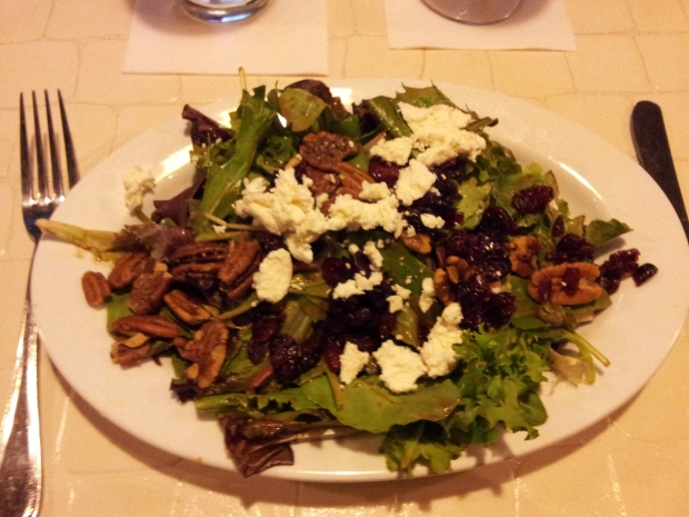 The Shuttle:  Mesculin greens, goat cheese, dried cranberries, candied pecans, tomato balsamic vinaigrette