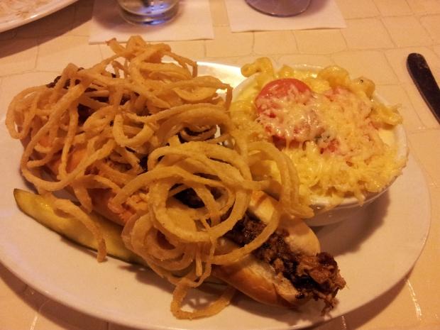 Pulled Pork: Shredded pork shoulder, BBQ sauce, fried onions, garlic toasted hoagie